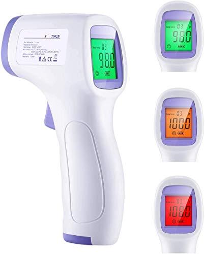 Termometro de Frente Infrarrojos Digital Sin Contacto - Termómetro Digitales Infrarrojo Medidor de Temperatura con Alarma - Termometros de Frontal Profesional para Niños, Bebes, Adultos, Objetos