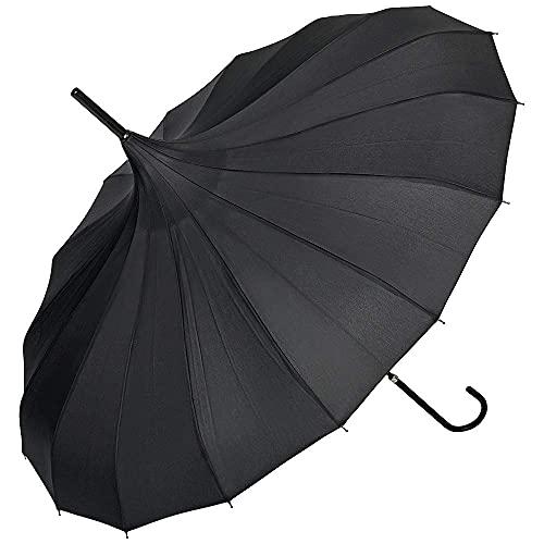 VON LILIENFELD Regenschirm Brautschirm Hochzeitsschirm Sonnenschirm Leicht Stabil Pagode Fabienne schwarz