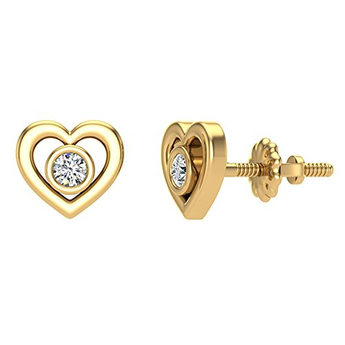 Heart Earrings for girls-women Love Diamond Studs Gift Box Authenticity Cards 10K Yellow Gold 0.10 ct t.w.
