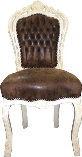 Barock Esszimmer Stuhl Braun/Creme Ludwig XIV Stuhl Wohnung Wohnen Rokoko Jugendstil Stühle Möbel