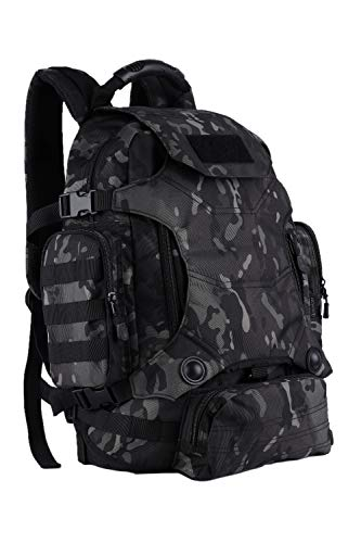 OLEADER Militär taktischer Rucksack 40L wasserdichter Rucksack Große Molle Assault-Rucksäcke mit Taillentasche für Outdoor-Trekking, Reisen, Wandern, Camping (Black camo)