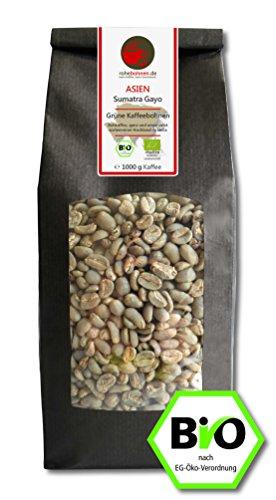 Bio Rohkaffee - Grüner Hochland Kaffee Sumatra Gayo (grüne Kaffeebohnen 1000g)