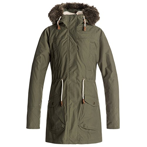 Roxy Damen 3N1 JK Amy-Waterproof Parka Jacket, grün (beetle), XL