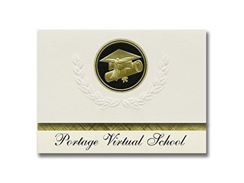 Signature Announcements Portage Virtual School (Portage, WI) Graduation Ankündigung, Presidential Style, Elite Paket mit 25 Cap & Diplom-Siegel, Schwarz & Gold
