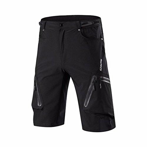 VERTAST MTB Hose Herren Radshorts Radhose, Outdoor Sport Shorts Freizeit Atmungsaktive mit Reißverschluss, schwarz, L