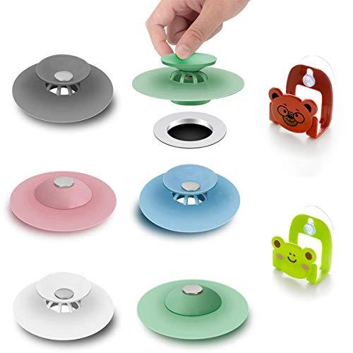 Yolistar 5 Pezzi Tappo per Vasca da Bagno, 2 Pezzi Stand da Cucina, Universale Tappo per lavello da Lavandino Bagno in Silicone Tappi di Aspirazione per Lavabo per Cucine Bagni