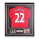 exclusivememorabilia.com Camiseta del Manchester United firmada por Paul Scholes. 2012-13. Marco de Lujo