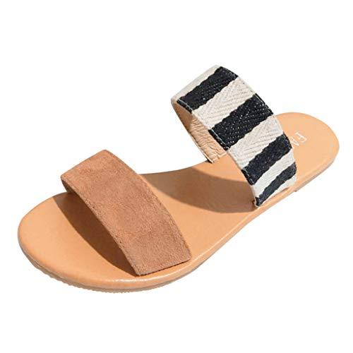 WWricotta Women's Casual Monochrome Vintage Roman Plus-Size Flat Slippers Sandals Shoes(Weiß,39)
