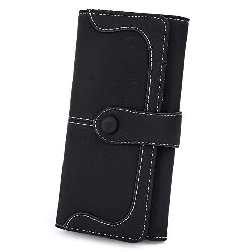 UTO RFID Wallet for Women Vegan Leather 18 Card Slots Card Holder Long Bifold Checkbook 5.5' Phone Blocking Tech Wallet A Black