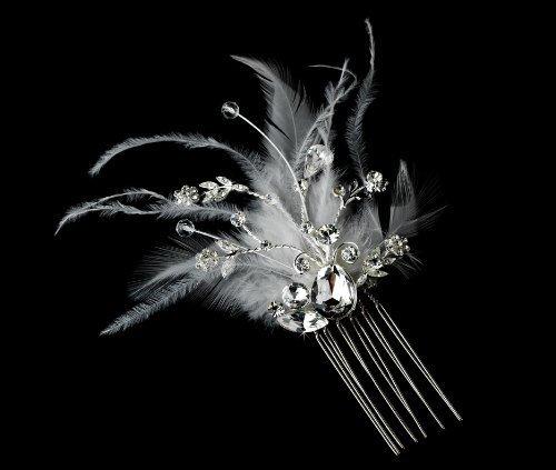 Amabel Gorgeous Rhinestone Dazzle Feather Wedding Bridal Hair Comb - White by Fairytale Bridal Tiara