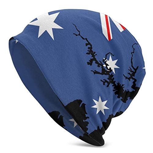 N\ A Skull Cap Map of Sydney Australian Flag Beanie Hat Winter Knit Sleep Caps Hats for Women Men