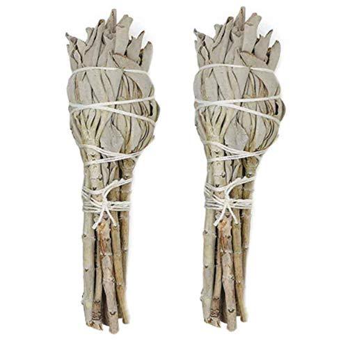 happygirr Premium Salvia Blanca 2pcs Smudge Sticks Exorzismus Desmagnetización Eliminación de Fragancia Salvia Blanca para la Limpieza del Espacio Yoga Practiation