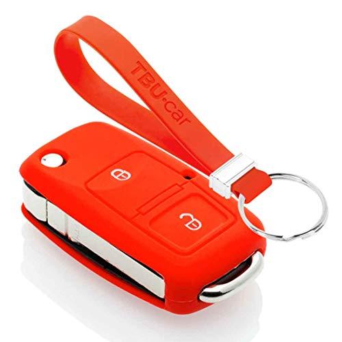 TBU car Funda Carcasa Llave Compatible con Seat - Funda de Silicona - Cover de Llave Coche - Rojo