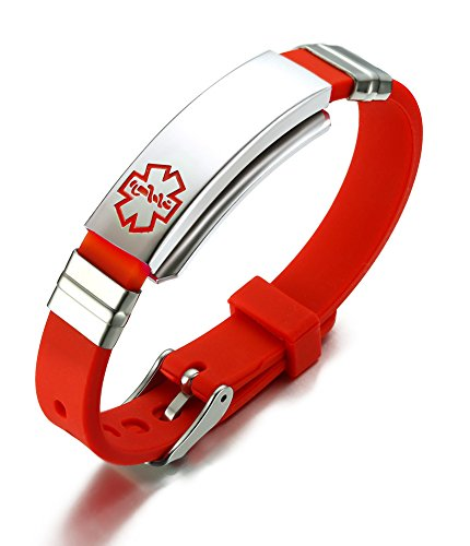 VNOX Free Engraved Stainless Steel Silicone Medical Alert ID SOS Adjustable Bracelet for Men Women Red