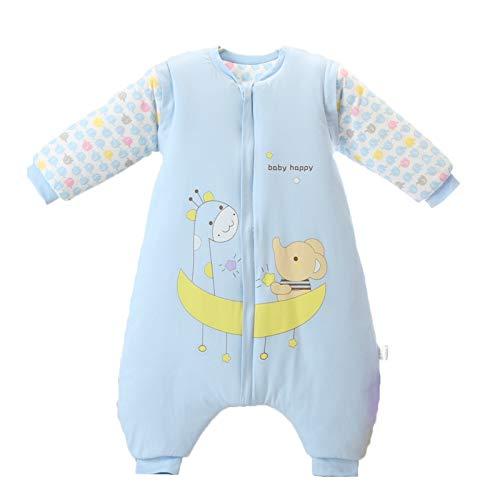 Bebé Saco de Dormir Invierno para Niños Niñas Manga larga Algodón Pijama Mamelucos Mono Traje de dormir 0-2 años,azul