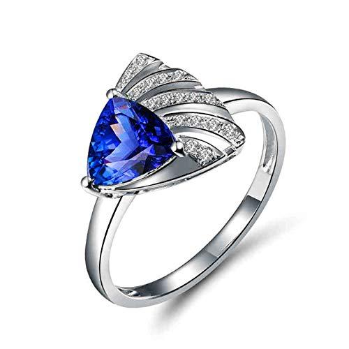 Beydodo Anillo de Boda Mujer,Anillos Mujer Oro Blanco 18 Kilates Plata Azul Triángulo Tanzanita Azul 1ct Diamante 0.09ct Talla 25(Circuferencia 65MM)