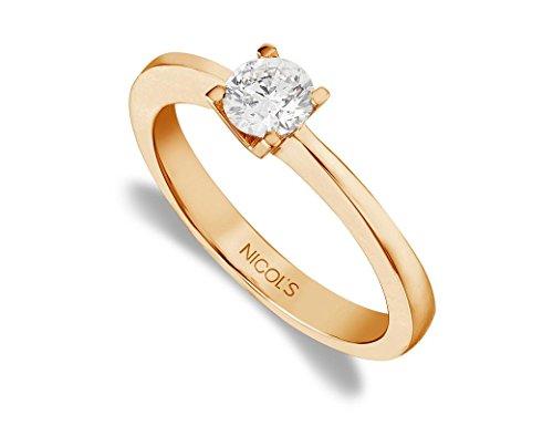 NICOLS 9992028xx19 - Anillo de Compromiso Katherine Oro Rosa (18kt) con Diamante 0.10 Ct