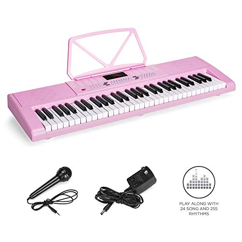 Best Choice Products 61-Key Portable Electronic Keyboard Piano w/LED Screen, Record & Playback Function, Microphone, Headphone Jack (Pink)