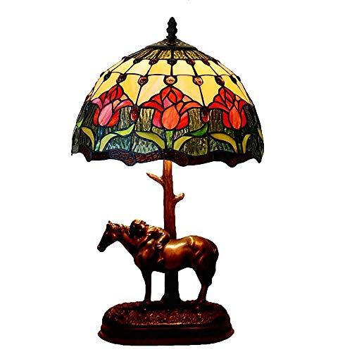 JMFHCD Tiffany Schreibtischlampe Retro 12 Zoll Glasmalerei Tischlampe Antiker Tulpen Pony Nachttischlampe Mit Harzbasis, für Wohnzimmer Schlafzimmer Couchtisch Nachtlicht