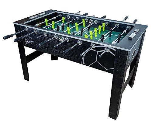 Devessport - Futbolín Titanium Black Ideal para Jugar con Amigos - Gran tamaño - Patas con Mayor Estabilidad - Barras de Metal - Mango de plástico - Retorno de Bolas - Medidas: 142 x 74 x 87.5 Cm