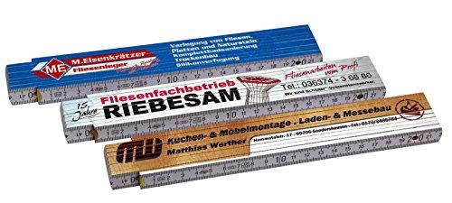 Zollstock Gliedermaßstab Meterstab mit Druck/Fotodruck 4-farbig Markenware von ADGA 10 Stück