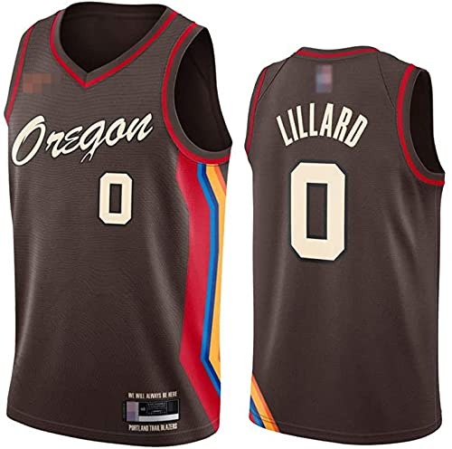 Ropa Jerseys de baloncesto para hombres, NBA Portland Trail Blazers # 0 Damian Lillard, Comfort Classic Comfort Chalecos transpirables Camiseta Uniformes deportivos Tops, Brown, XXL (185 ~ 195cm)