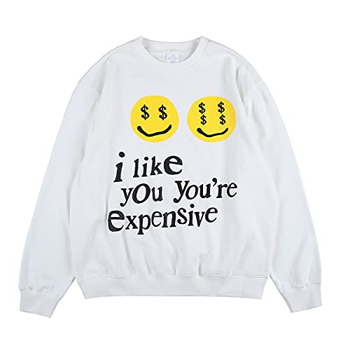 CPFM I Like You You're Espensive Sweatshirt Letter Print Hip Hop Crew Neck Hoodie For Men And Women White