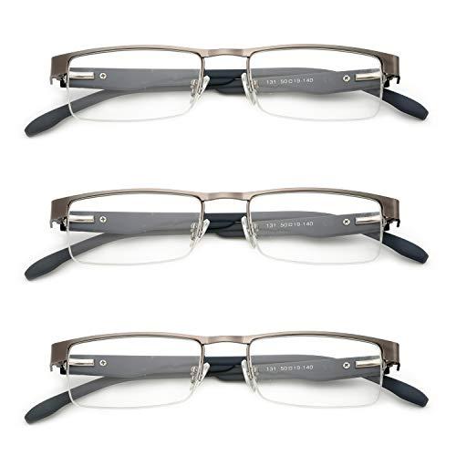 KOOSUFA Metall Lesebrillen Herren Damen Klassische Halbrandbrille Stärken Breit Lesebrille Qualität Schwarz Braun Grau (3 Stück Grau, 2.5)