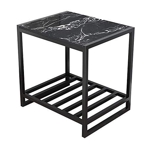 Table Table D'Appoint Industrielle À 2 Niveaux avec Étagère De Rangement Comptoir en Marbre Robuste avec Cadre en Métal Adapté Au Chevet Côté Canapé (Couleur: Noir)