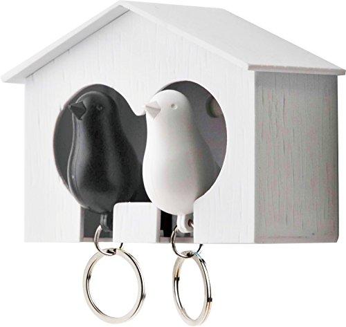 QUALY QL10124W-B Schlüsselbrett Schlüsselahnhänger Duo Sparrow Key Ring, weiß/schwarz