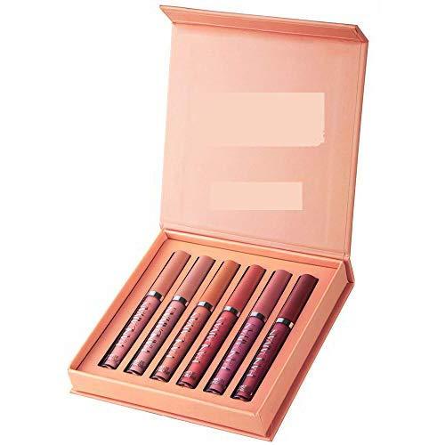 Kit de lápices labiales mate de 6 piezas,lápiz labial de maquillaje líquido antiadherente Velvet Matte Lip Gloss resistente al agua de larga duración para niñas,amantes,novias,Navidad (B)
