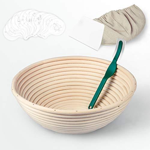 Banneton Proofing Basket, SUPERSUN 9 inch Round for Sourdough Bread, Bakery Basket with Dough Scraper + Cutter + Brotform Cloth Liner + 16 Bread Stencils