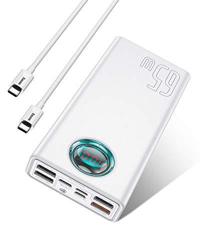 Carregador portátil Power Bank 30.000 mAh, Baseus 65 W PD USB C, carregador de bateria portátil com 5 portas de saída para iPhone 12, MacBook, iPad Pro, laptop, Samsung, Nintendo Switch e mais (branco)