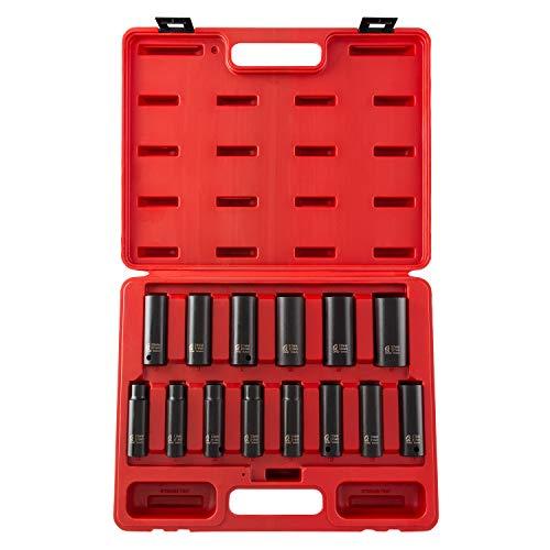 sunex socket wrenches drive socket sets Sunex 2653 1/2-Inch Drive Deep Metric 6 Point Impact Socket Set, 14-Piece