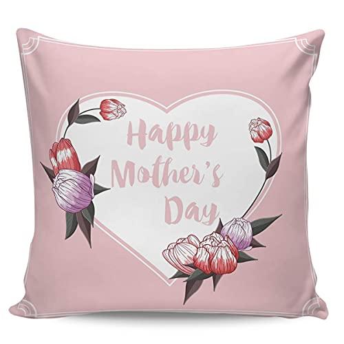 Funda de almohada cuadrada para el día de la madre, duradera funda de almohada para sofá cama de 45 cm x 45 cm, fundas de lona para almohada para sofá, decoración del hogar, flor de amor La Best Wishe