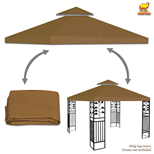 Strong Camel Dual Tier Gazebo Replacement 10' x 10' Canopy Top Cover Awning Roof Top Cover (Brown)