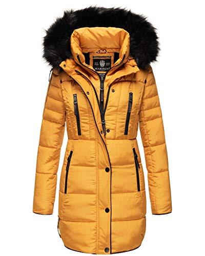 MARIKOO warme Damen Winter Jacke Winterjacke Parka Stepp Mantel lang B401 [B401-Moonshine-Gelb-Gr.S]
