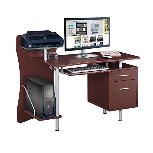 Techni Mobili Stylish Computer Desk with Storage, Chocolate