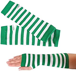 Rhode Island Novelty Green and White Stped Arm Warmers One-Size Fits Most One Pair