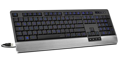 Speedlink LUCIDIS Comfort Illuminated Keyboard - Tastatur mit USB Anschluss (LED-Tastenbeleuchtung - Höhenverstellbar - Treiberlose Installation) für Gaming/PC/Notebook/Laptop, DE Layout schwarz