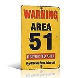 Placa de metal con aspecto vintage de Area 51 Aged Advertencia de seguridad