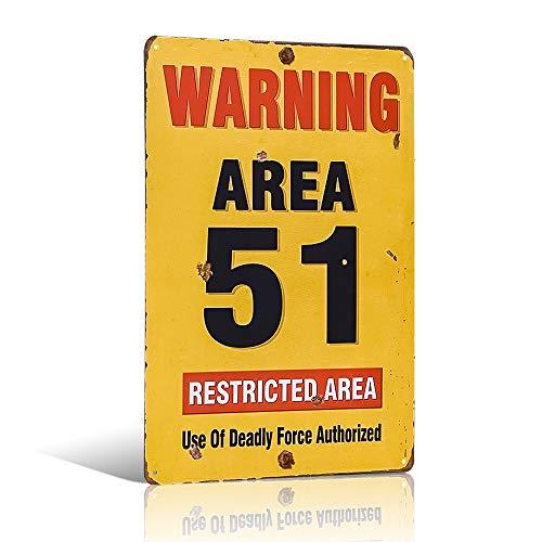 Area 51 Segnale di avvertimento invecchiato in metallo look vintage targa in metallo capannone garage man grotta.