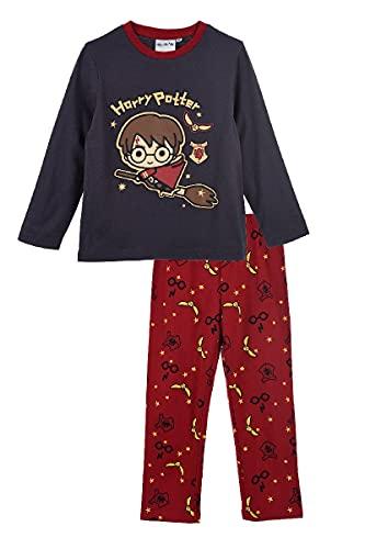 Characters Cartoons Harry Potter – Pijama de algodón para niño – Conjunto completo de 2 piezas camiseta y pantalón – Licencia oficial WB, 2050 Gris, 6 años