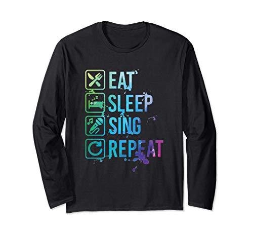 Sing Karaoke Eat Sleep Repeat Watercolor Gift Manga Larga
