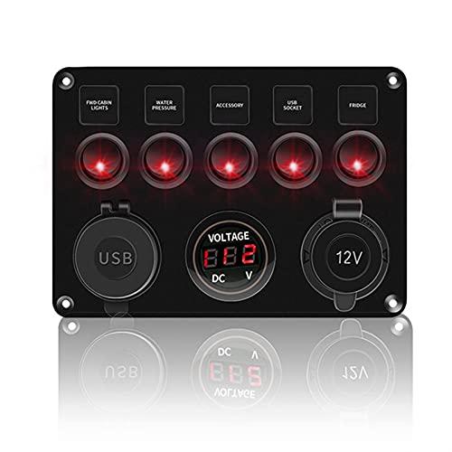 LSXLSD Accesorios para interruptores automáticos Barco de automóviles 5 Panel de conmutación de pandillas para barcos Yate Caravana Caravana Voltímetro impermeable Voltímetro Potencia Dual USB PANEL 1