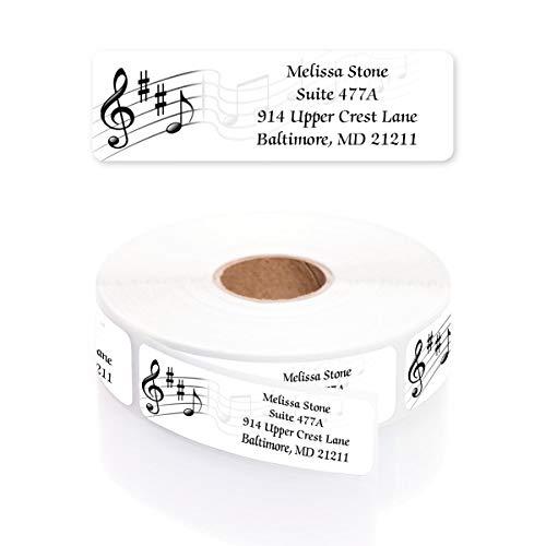 Musical Scale Designer Rolled Address Labels with Elegant Plastic Dispenser