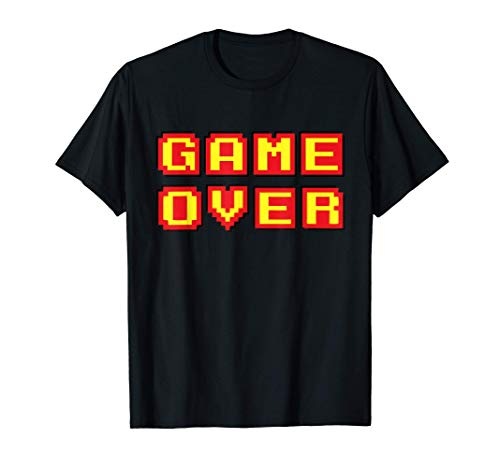 Game Over Retro 8 Bit Text T-shirt in 4 Colors for Men or Women