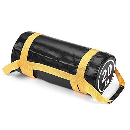 Bolsas de Arena para Levantamiento de Pesas Power Bag con Asas y Cremallera Fitness Ajustable en Peso Sandbag 20 Kg 30kg Carrera Ejercicio Entrenamiento Funcional Gimnasio en Casa (Amarillo)(20kg)