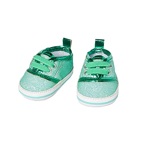 Heless 149 Glitzer-Sneaker für Puppen, mintfarben, Größe 38-45 cm, schickes Schuhwerk mit Wow-Effekt für besondere Anlässe, Mint