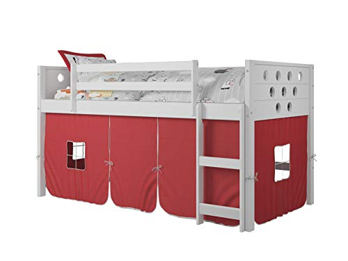Product Image of the DONCO Kids Circles Low Loft Bed with Red Tent, Twin, White